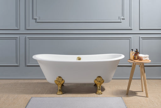"67"" Cast Iron R5061GLD-GLD Soaking Clawfoot Tub and Tray with External Drain"