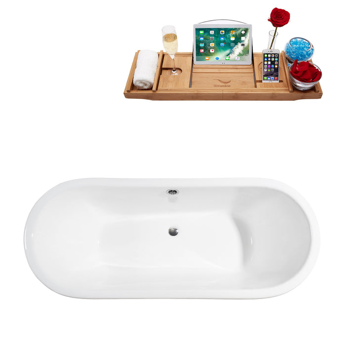 "67"" Cast Iron R5061WH-CH Soaking Clawfoot Tub and Tray with External Drain"