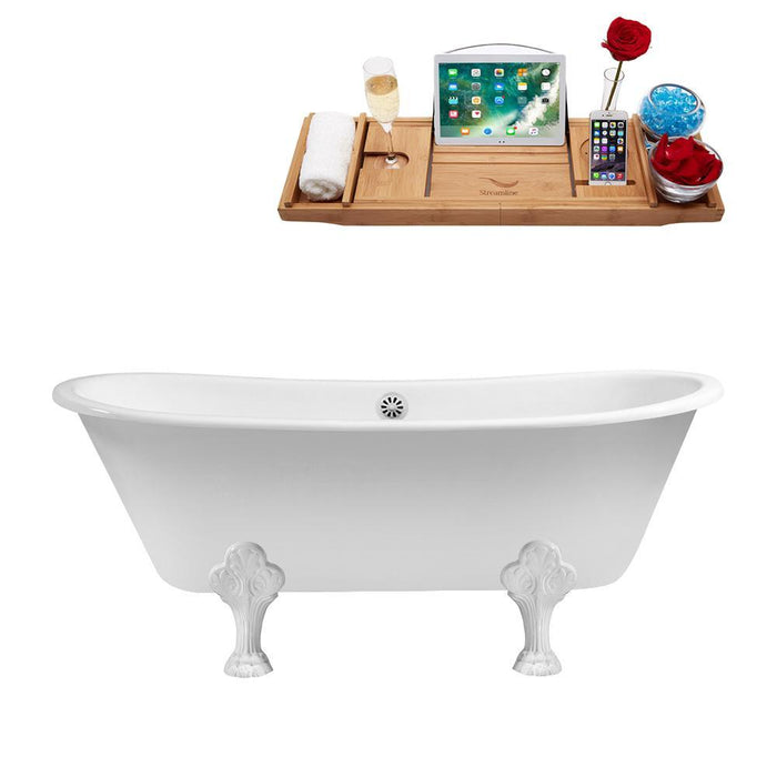 "67"" Cast Iron R5061WH-WH Soaking Clawfoot Tub and Tray with External Drain"