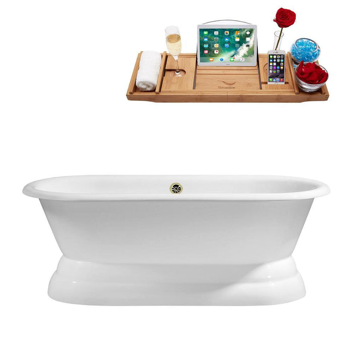 "66"" Cast Iron R5080BNK Soaking freestanding Tub and Tray with External Drain"