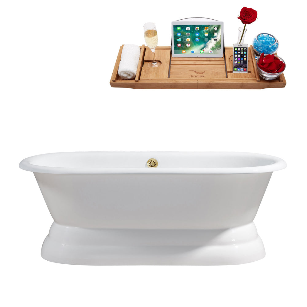 "66"" Cast Iron R5080GLD Soaking freestanding Tub and Tray with External Drain"