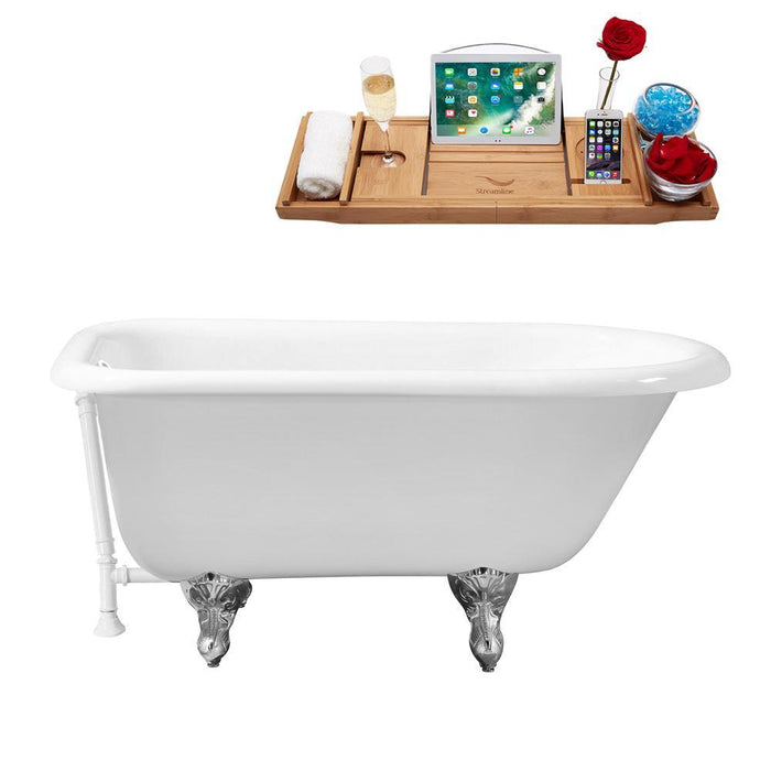 "66"" Cast Iron R5100CH-WH Soaking Clawfoot Tub and Tray with External Drain"