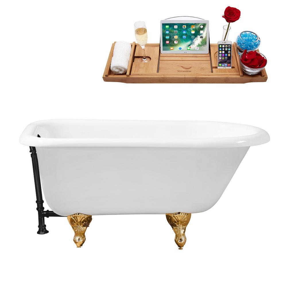 "66"" Cast Iron R5100GLD-BL Soaking Clawfoot Tub and Tray with External Drain"