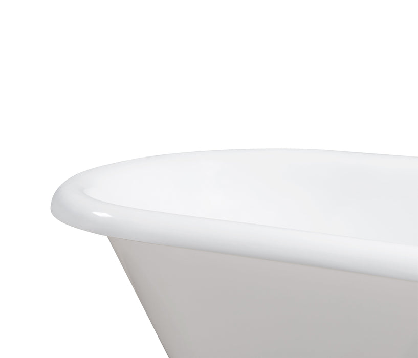 "66"" Cast Iron R5100GLD-CH Soaking Clawfoot Tub and Tray with External Drain"