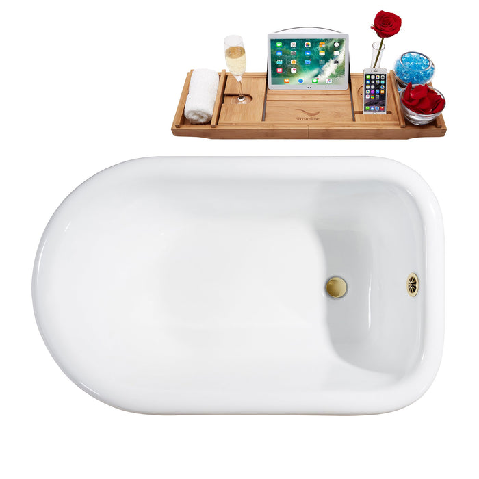 "66"" Cast Iron R5100GLD-GLD Soaking Clawfoot Tub and Tray with External Drain"