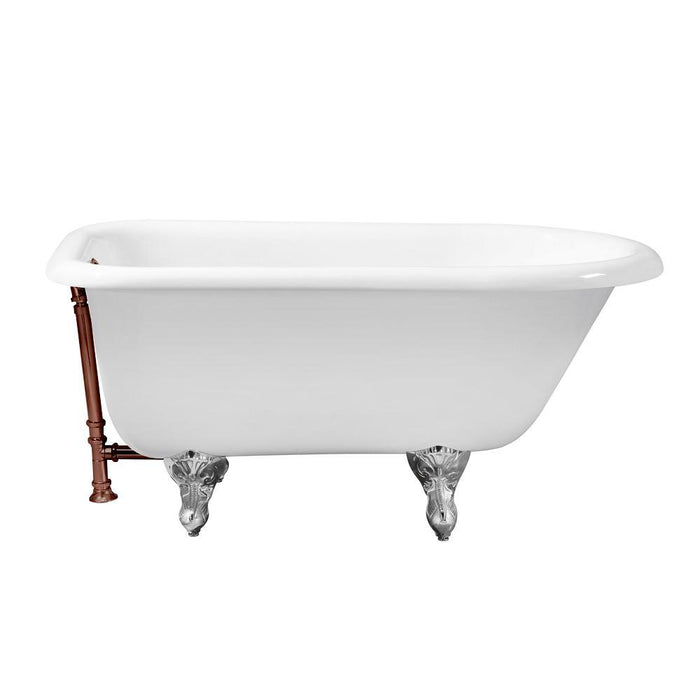 "48"" Cast Iron R5101CH-ORB Soaking Clawfoot Tub and Tray with External Drain"