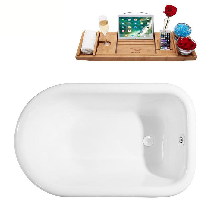 "60"" Cast Iron R5120CH-WH Soaking Clawfoot Tub and Tray with External Drain"