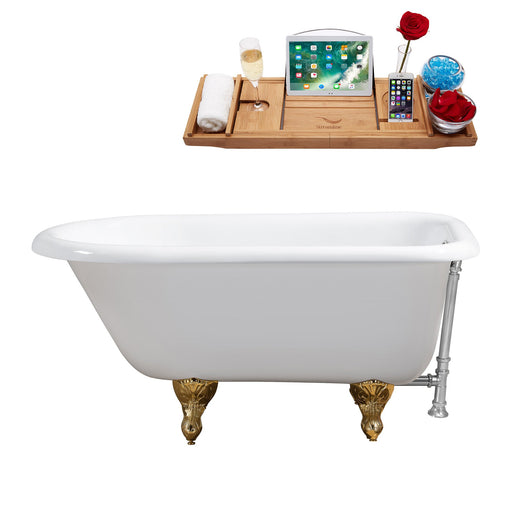 "48"" Cast Iron R5101GLD-CH Soaking Clawfoot Tub and Tray with External Drain"