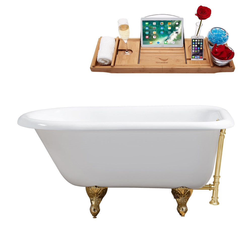 "48"" Cast Iron R5101GLD-GLD Soaking Clawfoot Tub and Tray with External Drain"