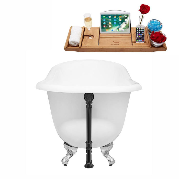 "60"" Cast Iron R5120CH-BL Soaking Clawfoot Tub and Tray with External Drain"
