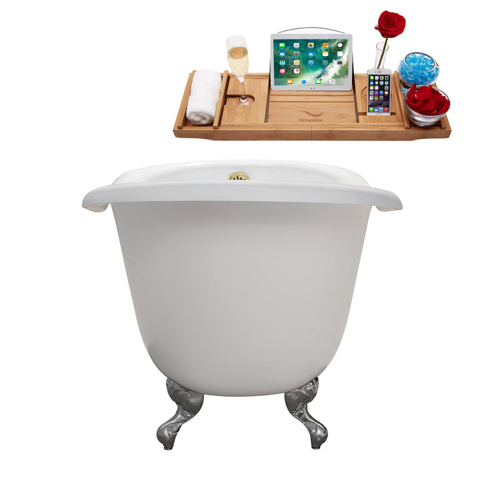 "60"" Cast Iron R5120CH-GLD Soaking Clawfoot Tub and Tray with External Drain"
