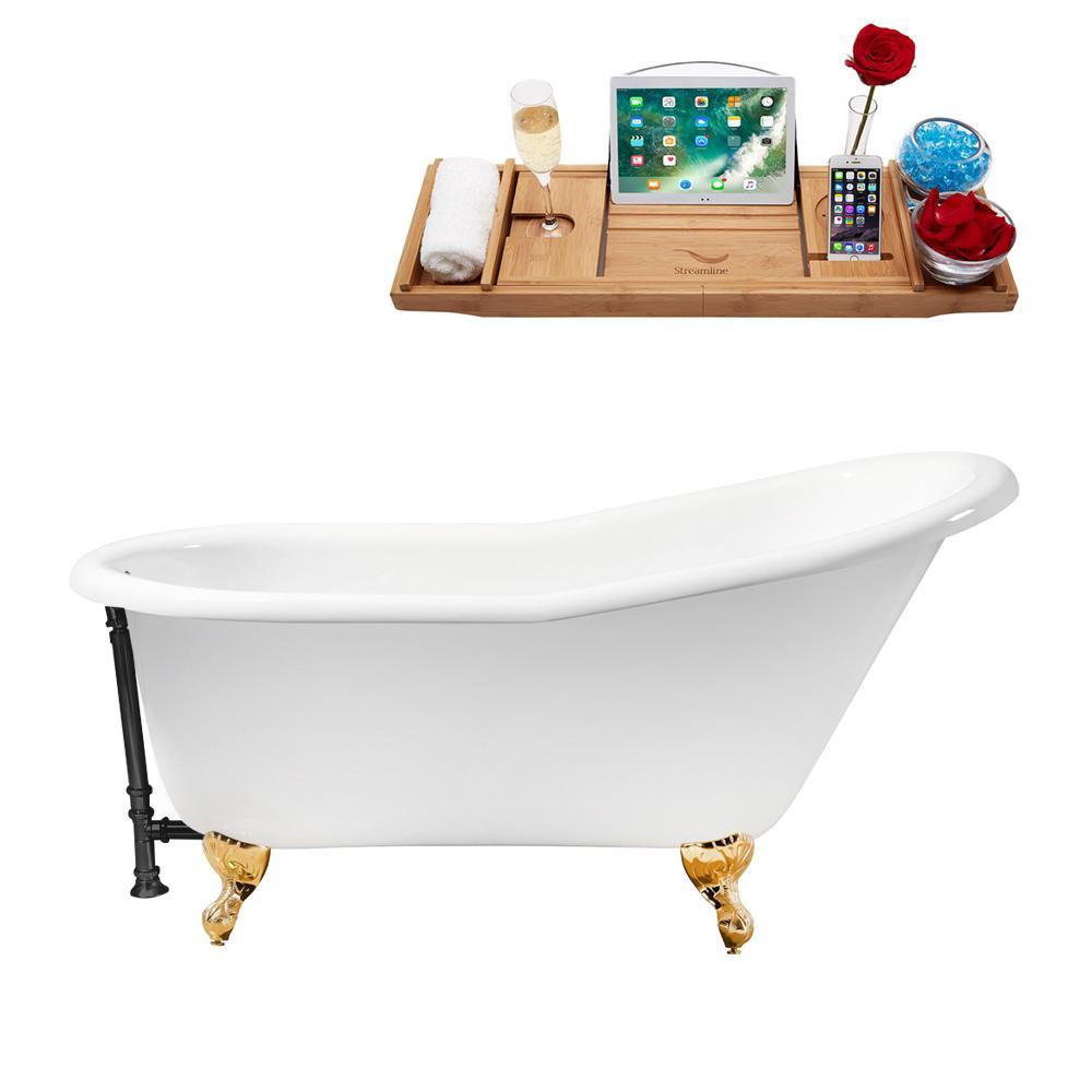 "60"" Cast Iron R5120GLD-BL Soaking Clawfoot Tub and Tray with External Drain"