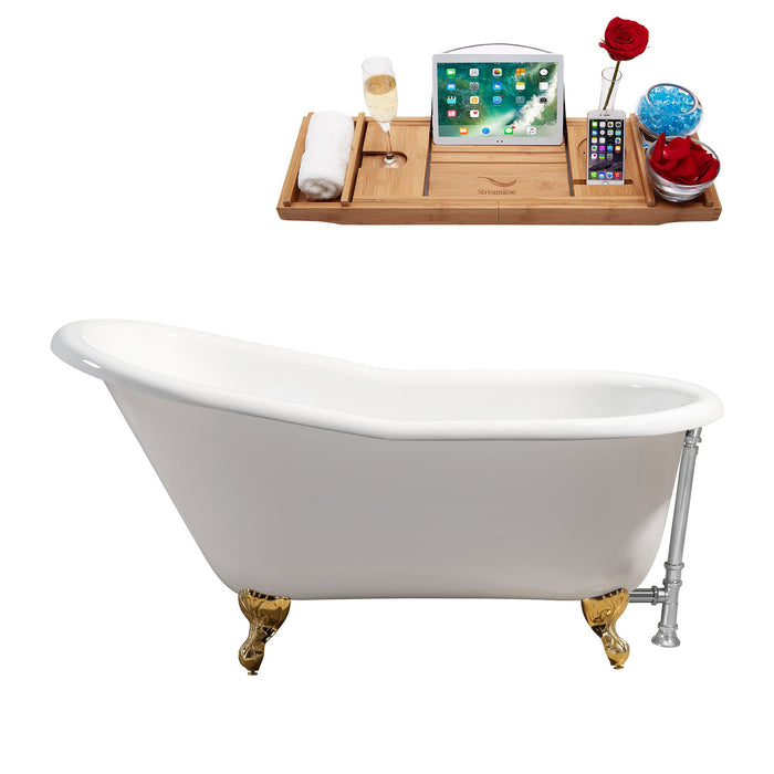 "60"" Cast Iron R5120GLD-CH Soaking Clawfoot Tub and Tray with External Drain"