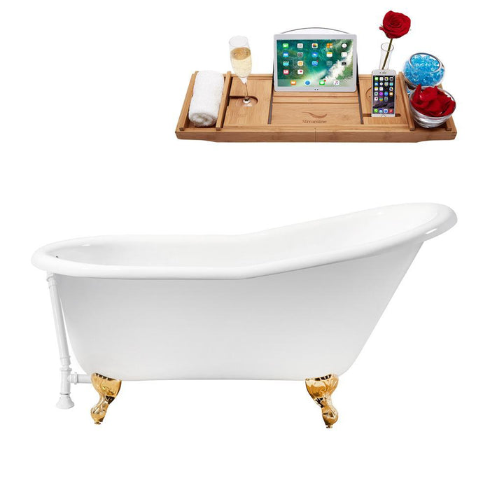 "60"" Cast Iron R5120GLD-WH Soaking Clawfoot Tub and Tray with External Drain"