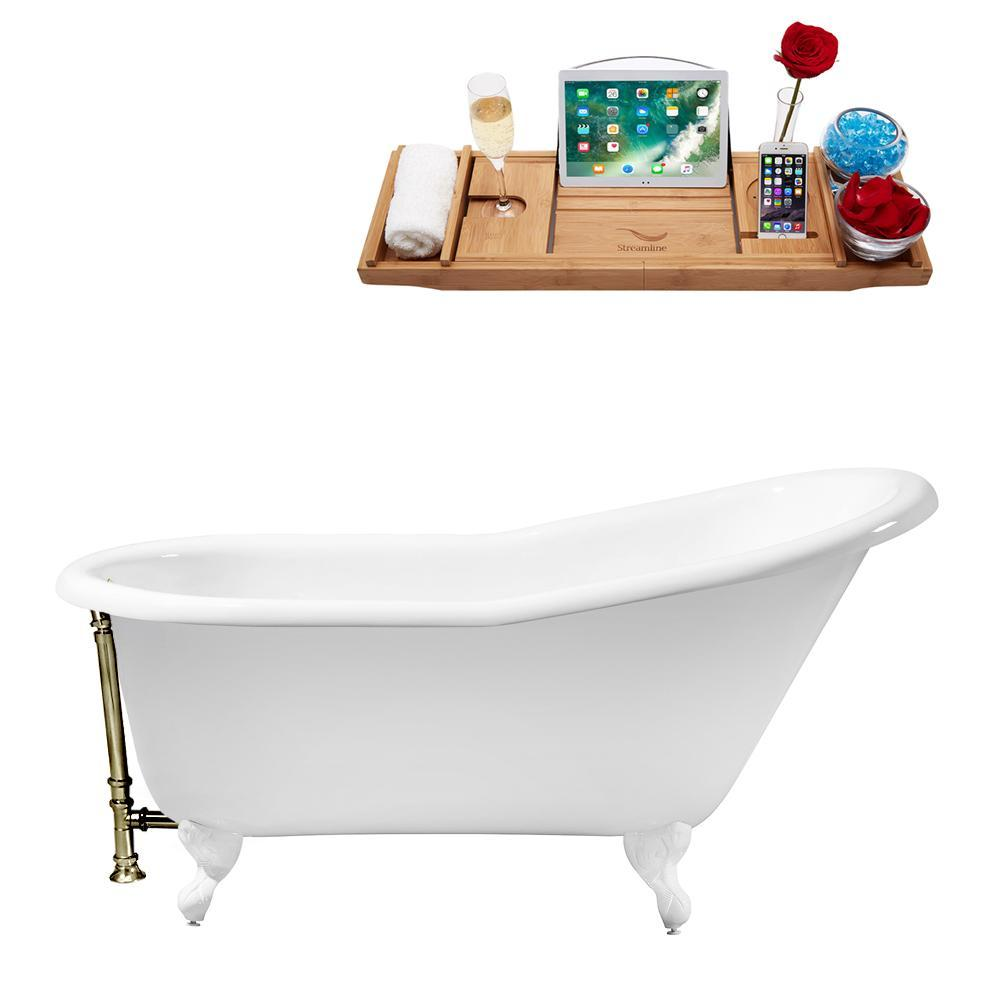"60"" Cast Iron R5120WH-BNK Soaking Clawfoot Tub and Tray with External Drain"