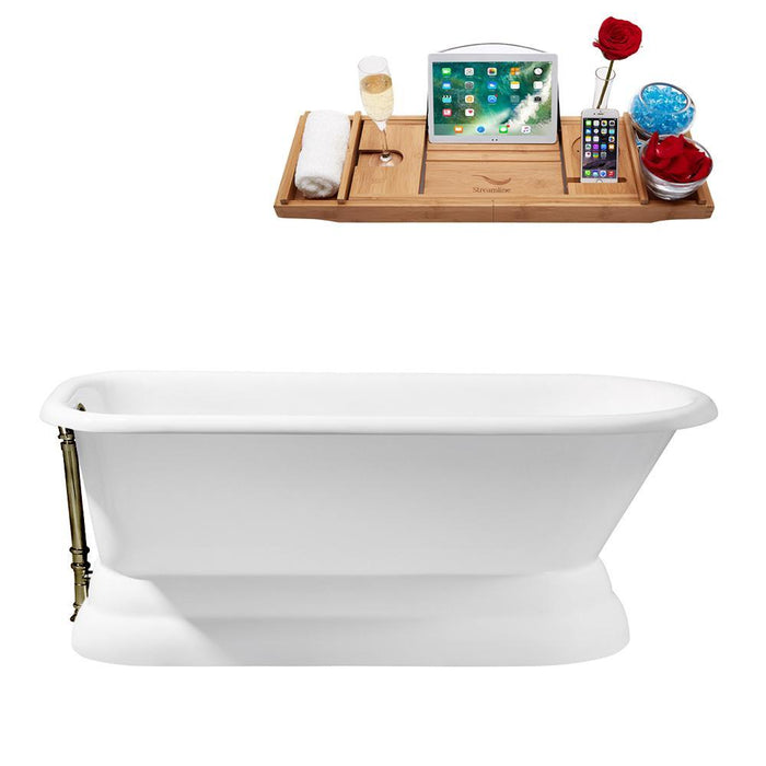 "66"" Cast Iron R5140BNK Soaking freestanding Tub and Tray with External Drain"