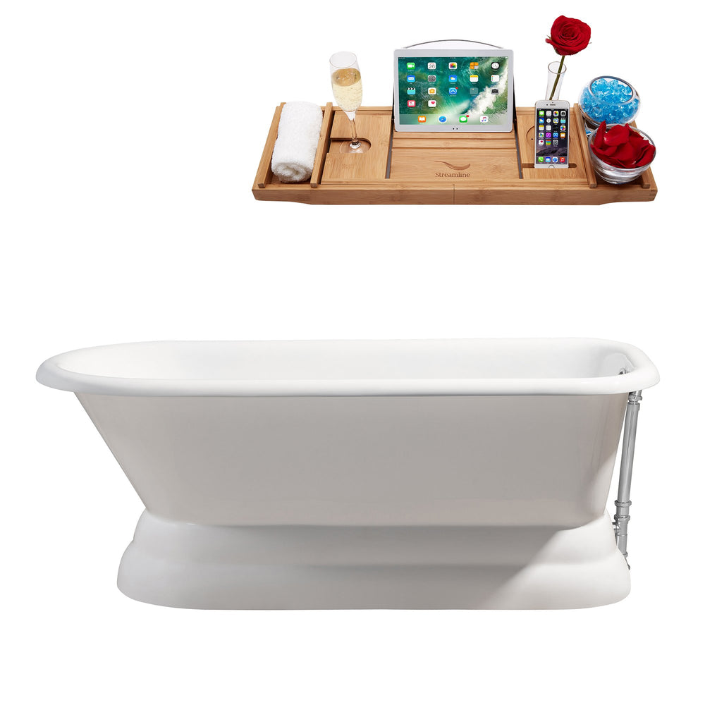 "66"" Cast Iron R5140CH Soaking freestanding Tub and Tray with External Drain"