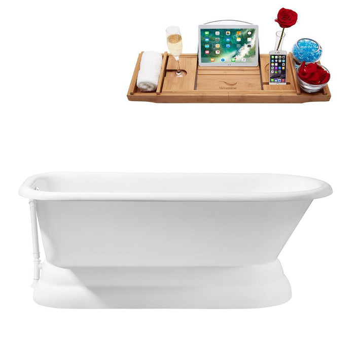 "66"" Cast Iron R5140WH Soaking freestanding Tub and Tray with External Drain"
