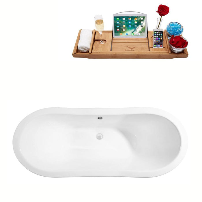 "72"" Cast Iron R5160CH-WH Soaking Clawfoot Tub and Tray with External Drain"