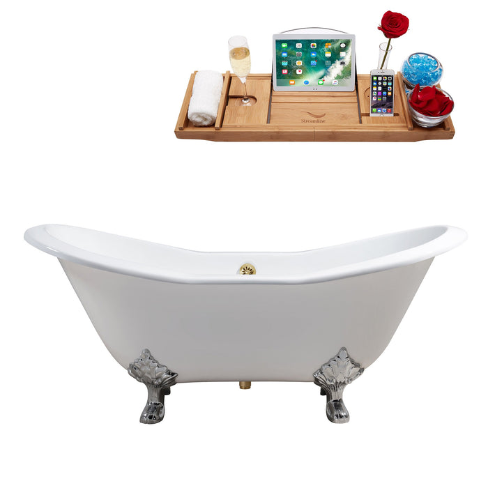 "72"" Cast Iron R5162CH-GLD Soaking Clawfoot Tub and Tray with External Drain"