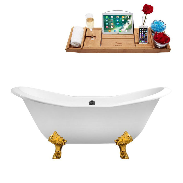 "72"" Cast Iron R5162GLD-BL Soaking Clawfoot Tub and Tray with External Drain"