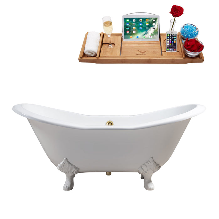 "72"" Cast Iron R5162WH-GLD Soaking Clawfoot Tub and Tray with External Drain"