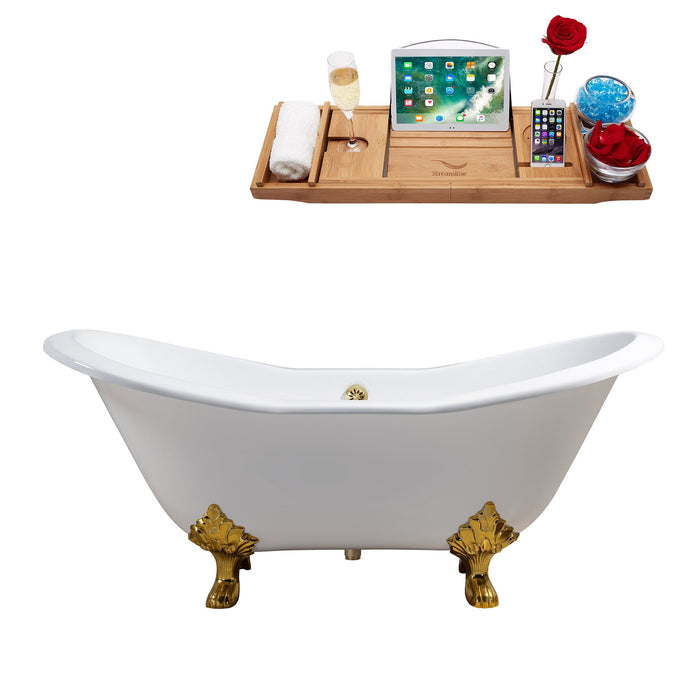 "61"" Cast Iron R5163GLD-GLD Soaking Clawfoot Tub and Tray with External Drain"