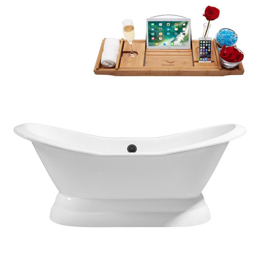 "72"" Cast Iron R5180BL Soaking freestanding Tub and Tray with External Drain"