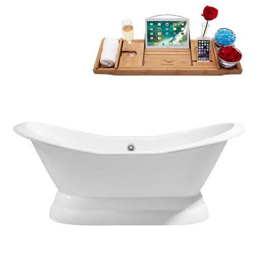 "72"" Cast Iron R5180WH Soaking freestanding Tub and Tray with External Drain"