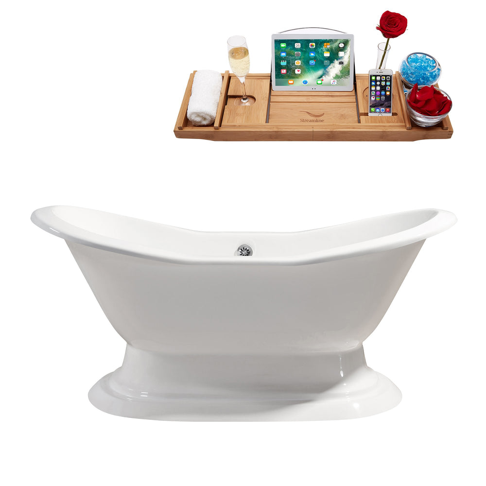 "72"" Cast Iron R5200CH Soaking freestanding Tub and Tray with External Drain"