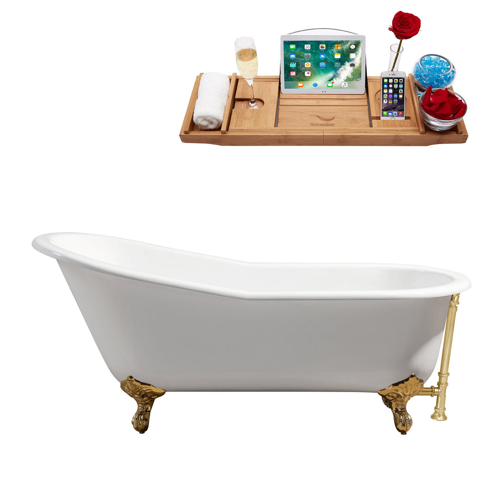 "67"" Cast Iron R5220GLD-GLD Soaking Clawfoot Tub and Tray with External Drain"