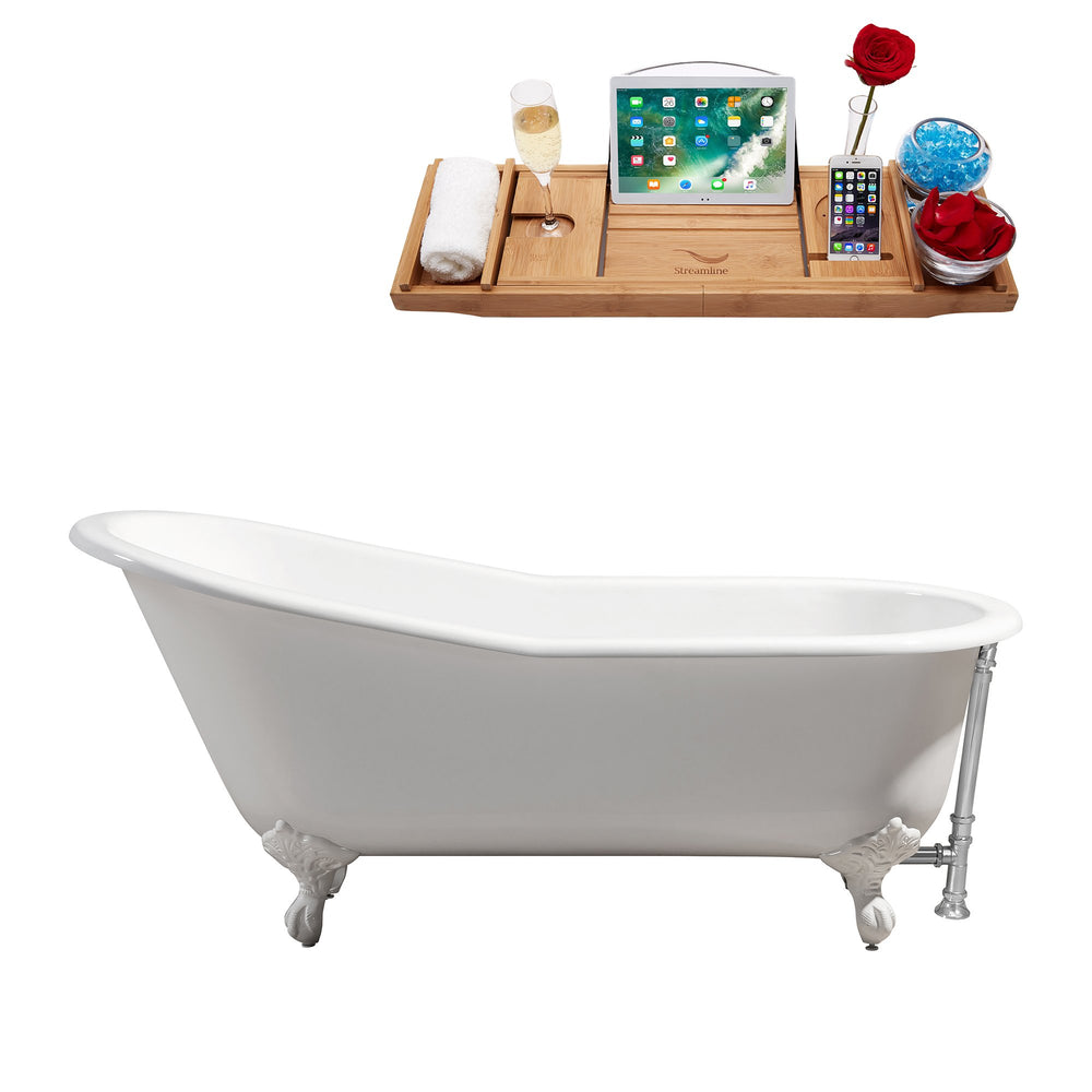 "67"" Cast Iron R5220WH-CH Soaking Clawfoot Tub and Tray with External Drain"