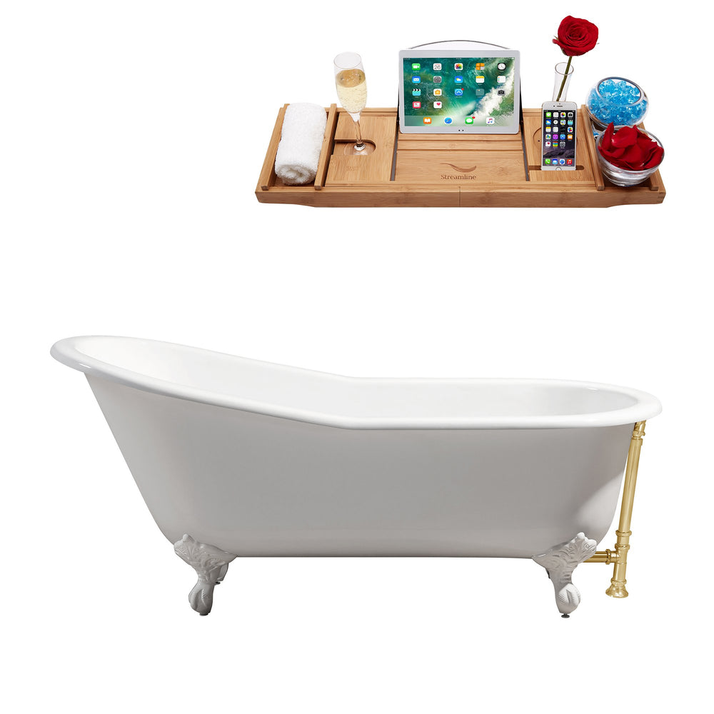 "67"" Cast Iron R5220WH-GLD Soaking Clawfoot Tub and Tray with External Drain"