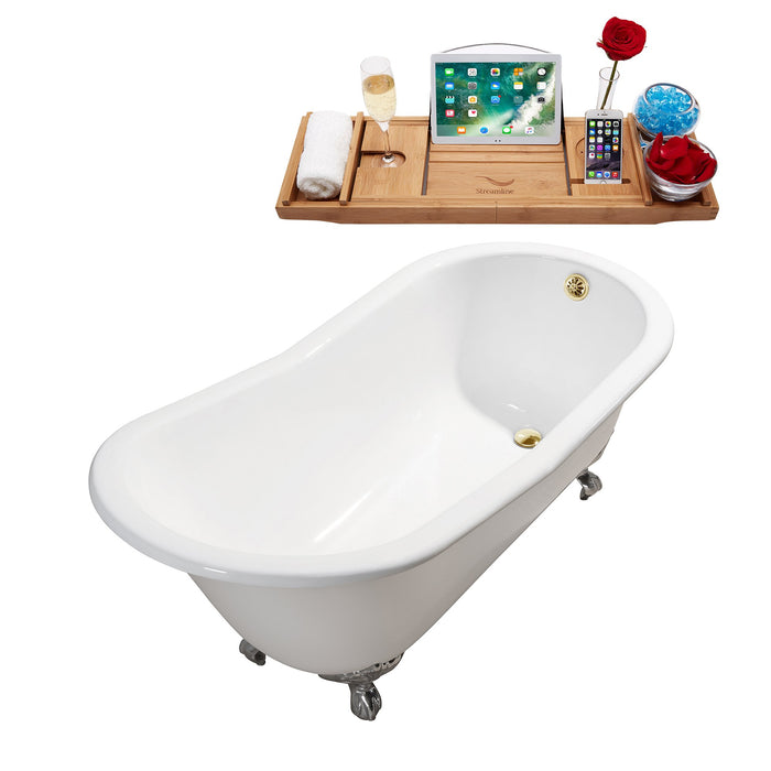 "61"" Cast Iron R5221CH-GLD Soaking Clawfoot Tub and Tray with External Drain"