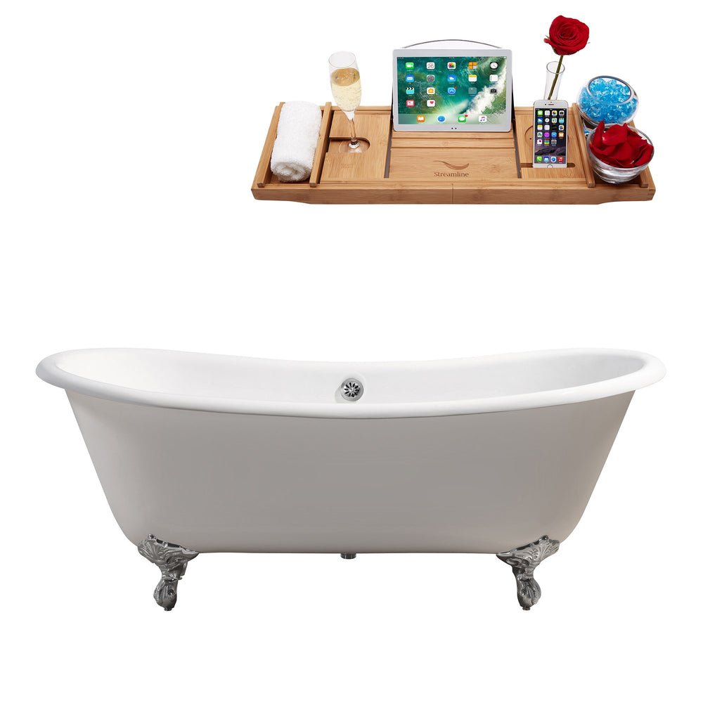 "71"" Cast Iron R5240CH-CH Soaking Clawfoot Tub and Tray with External Drain"