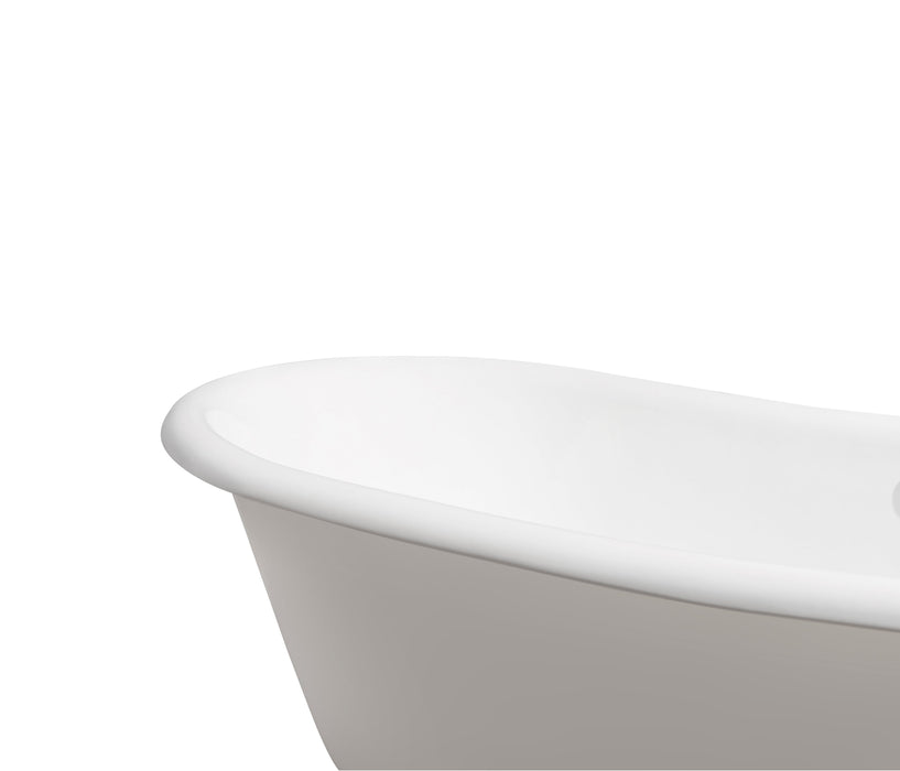 "71"" Cast Iron R5240GLD-CH Soaking Clawfoot Tub and Tray with External Drain"