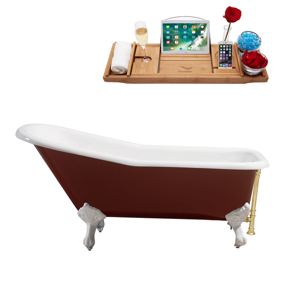 "66"" Cast Iron R5280WH-GLD Soaking Clawfoot Tub and Tray with External Drain"