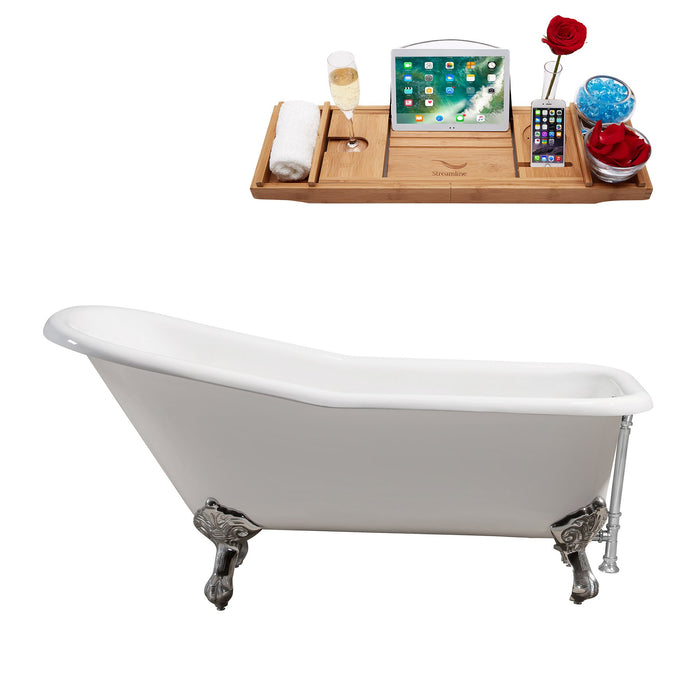 "66"" Cast Iron R5281CH-CH Soaking Clawfoot Tub and Tray with External Drain"