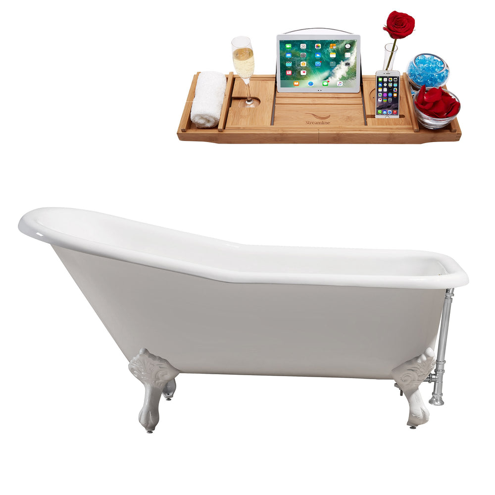 "66"" Cast Iron R5281WH-CH Soaking Clawfoot Tub and Tray with External Drain"