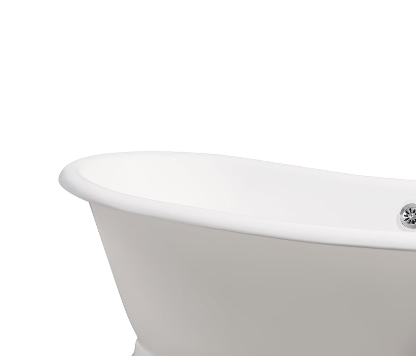 "71"" Cast Iron R5300CH Soaking freestanding Tub and Tray with External Drain"