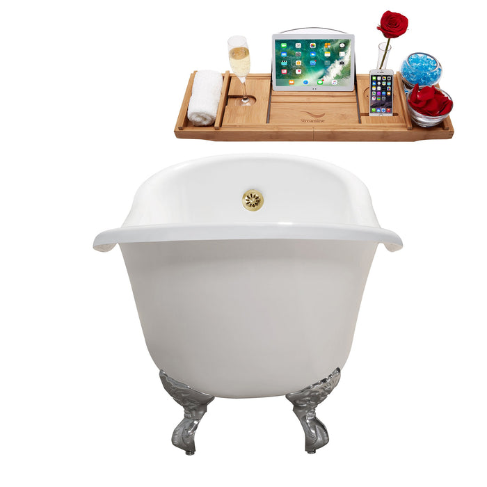 "67"" Cast Iron R5420CH-GLD Soaking Clawfoot Tub and Tray with External Drain"
