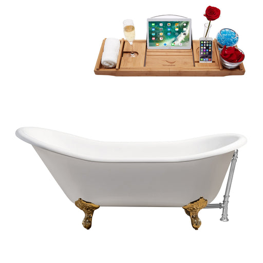 "67"" Cast Iron R5420GLD-CH Soaking Clawfoot Tub and Tray with External Drain"