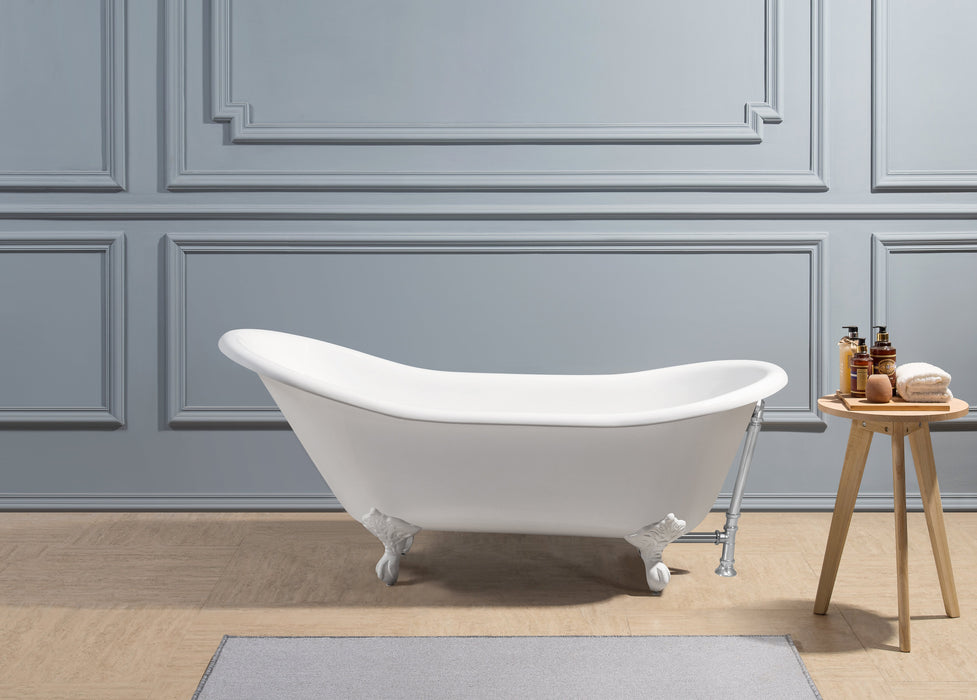 "67"" Cast Iron R5420WH-CH Soaking Clawfoot Tub and Tray with External Drain"