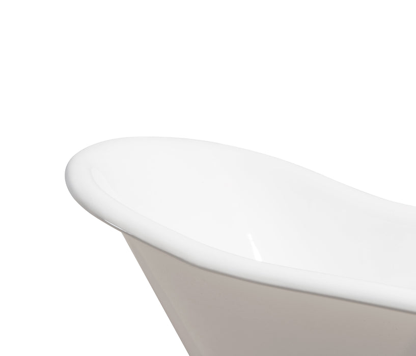 "67"" Cast Iron R5420WH-GLD Soaking Clawfoot Tub and Tray with External Drain"