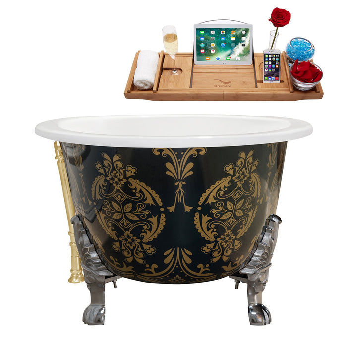 "65"" Cast Iron R5440CH-GLD Soaking Clawfoot Tub and Tray with External Drain"