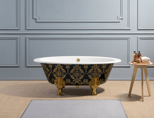 "65"" Cast Iron R5440GLD-GLD Soaking Clawfoot Tub and Tray with External Drain"
