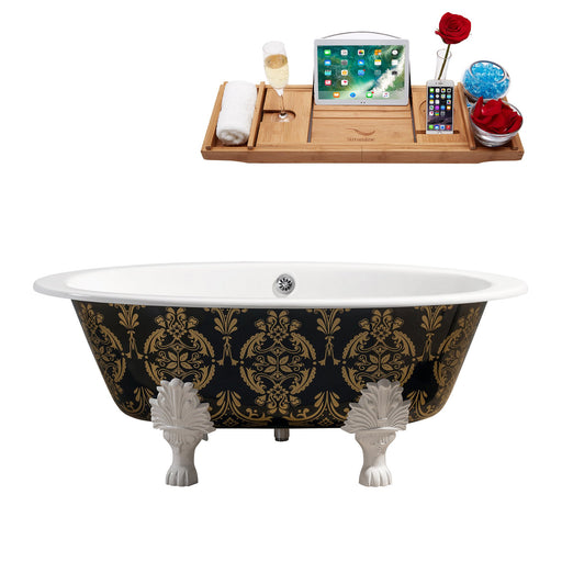 "65"" Cast Iron R5440WH-CH Soaking Clawfoot Tub and Tray with External Drain"
