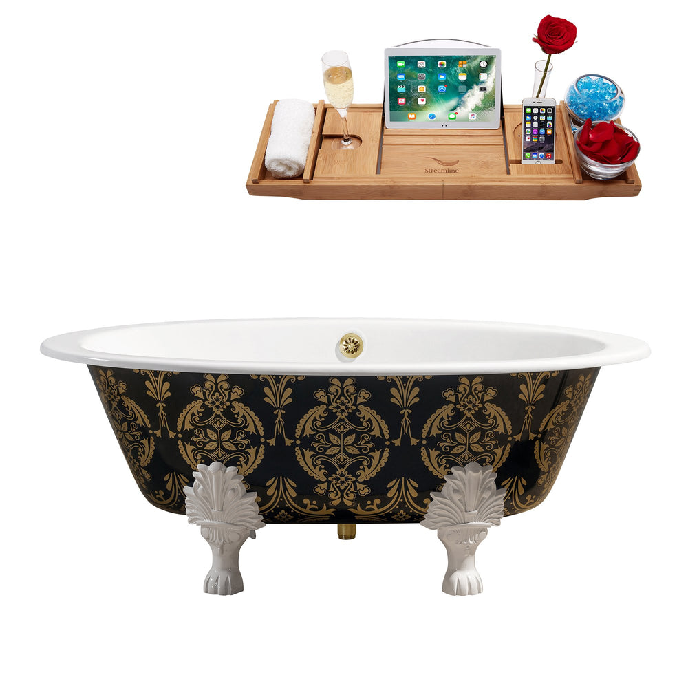 "65"" Cast Iron R5440WH-GLD Soaking Clawfoot Tub and Tray with External Drain"