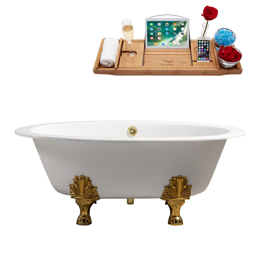 "65"" Cast Iron R5442GLD-GLD Soaking Clawfoot Tub and Tray with External Drain"
