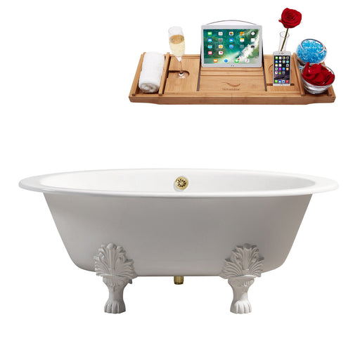 "65"" Cast Iron R5442WH-GLD Soaking Clawfoot Tub and Tray with External Drain"